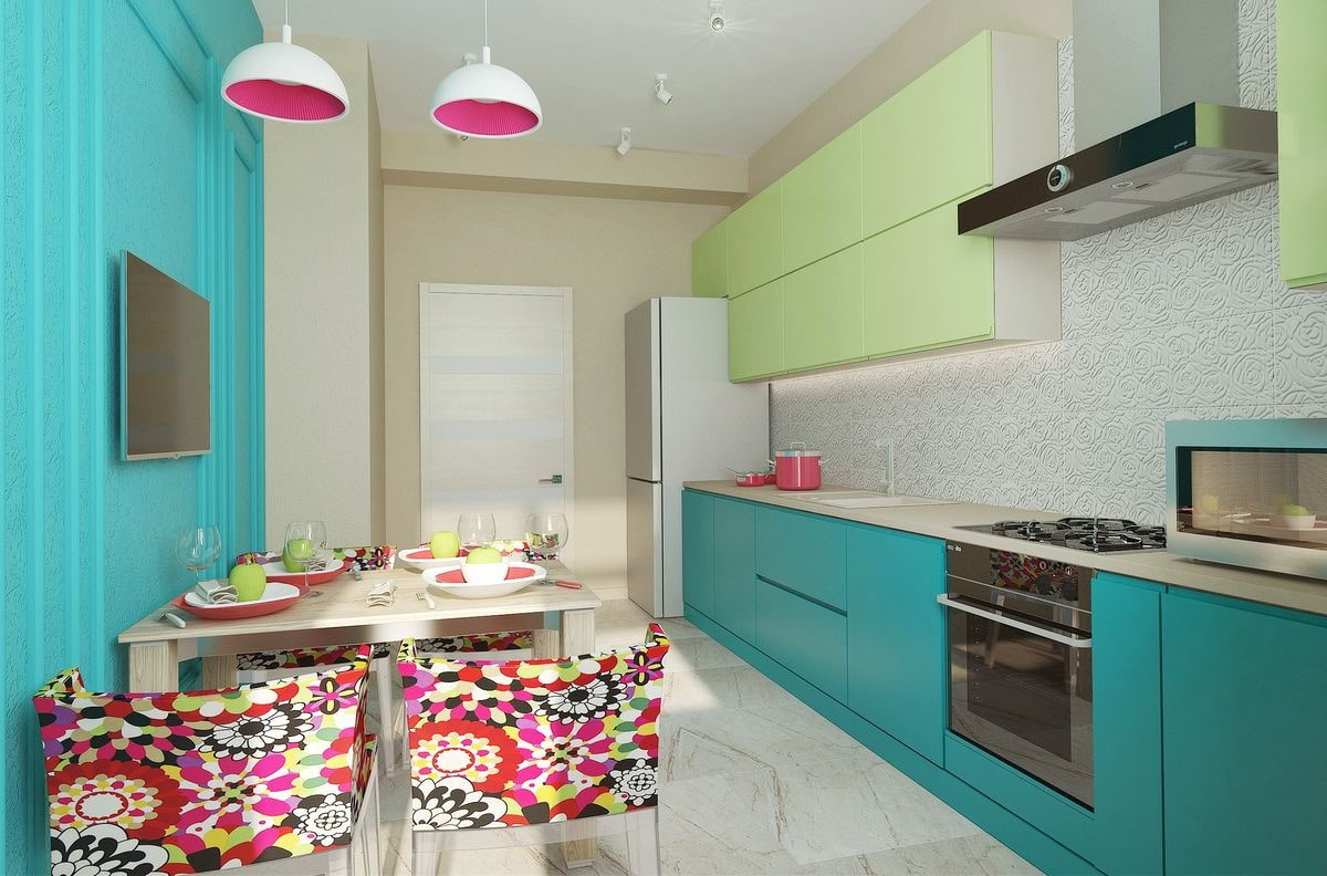 Pisctachio and mint color combination for successful kitchen