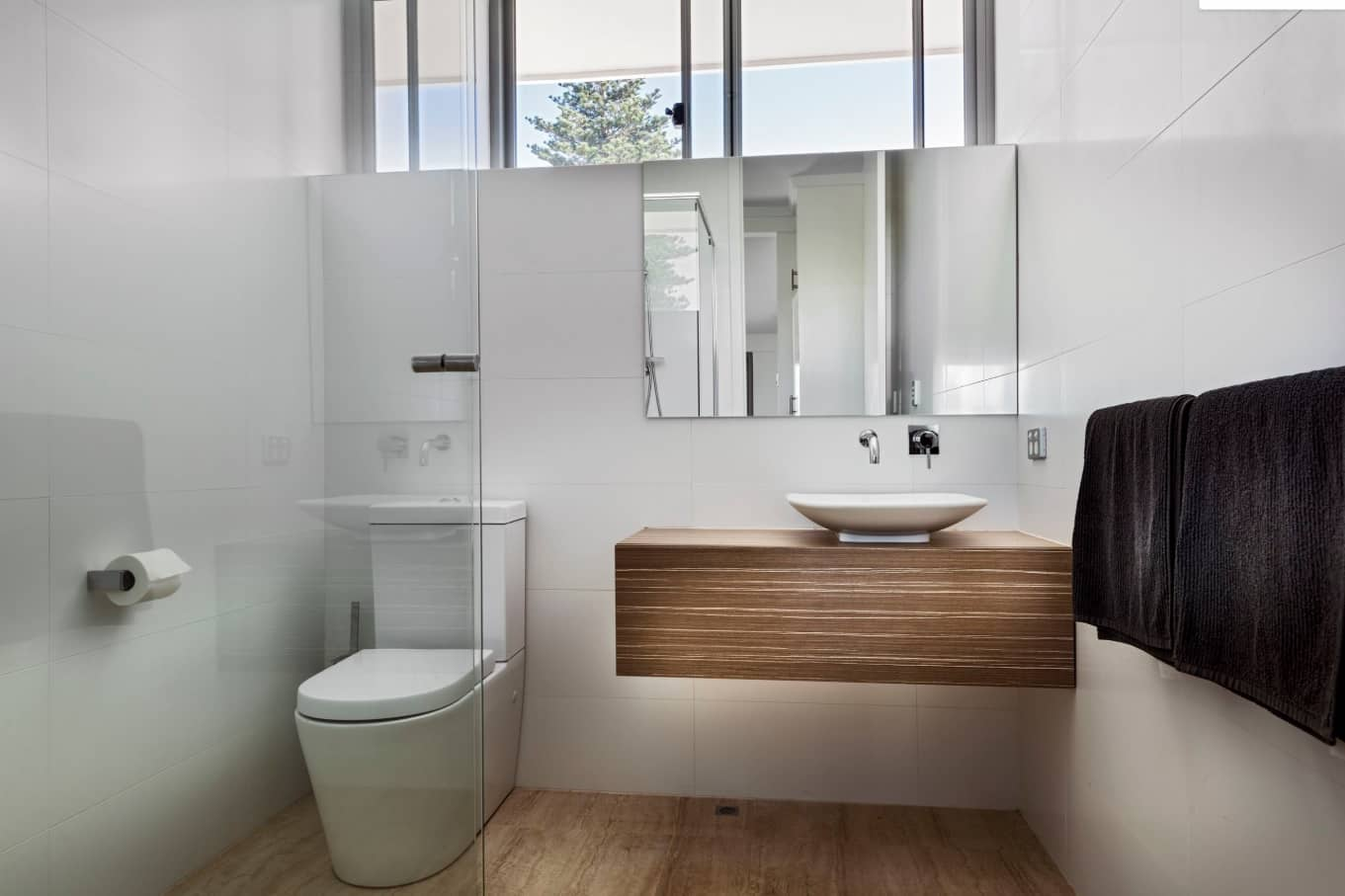 The Bathroom Trends for 2020. Floating noble wooden vanity