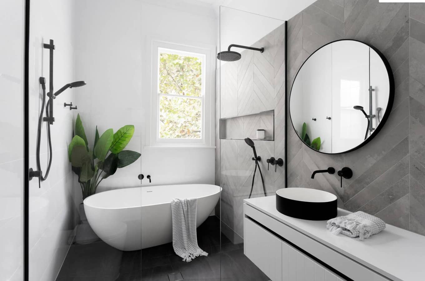 Great streamlined bathroom concept with greenery