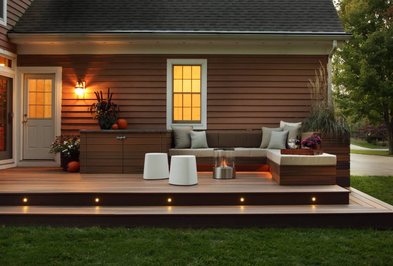 Outdoor lighting of the patio deck at the evening