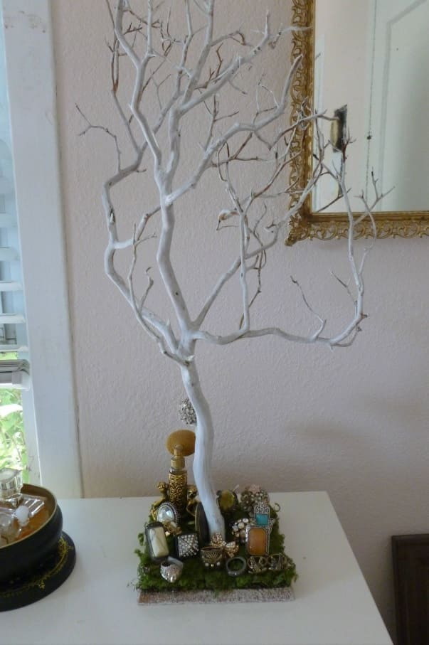 Alternative Jewellery Storage Solutions. White painted decorative tree