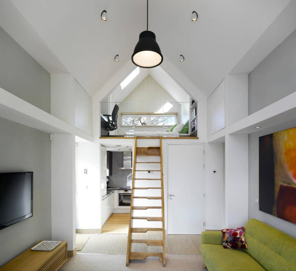 Mezzanine in the House: Difference from Loft, Construction Advice. Great modern interior with functional top space