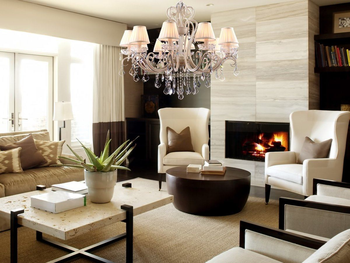Modern Chandeliers: Huge Selection of Room Decorating Options. Classic lantern top crystal chandelier for casual living with the fireplace