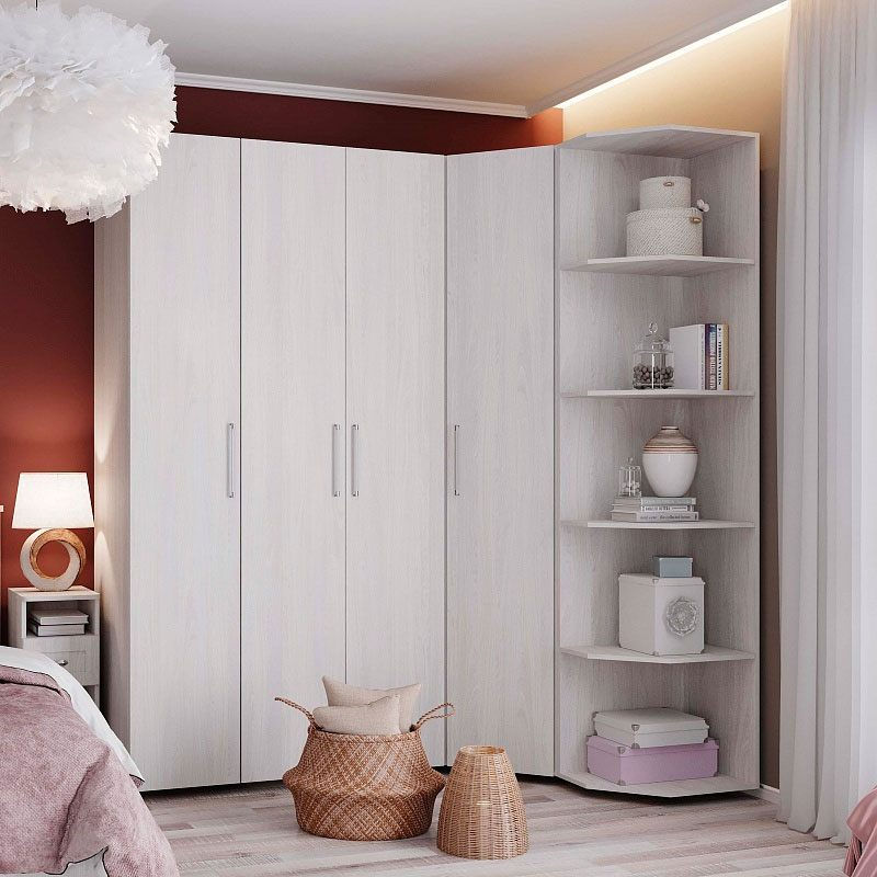 White matte wooden cabinet for small bedroom with laminated floor