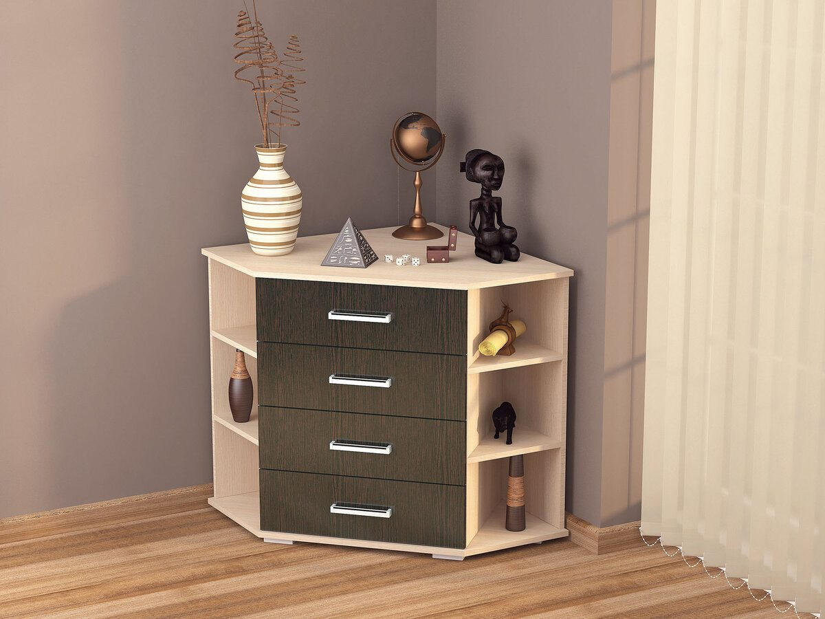 Corner dresser design for bedroom with open side shelves