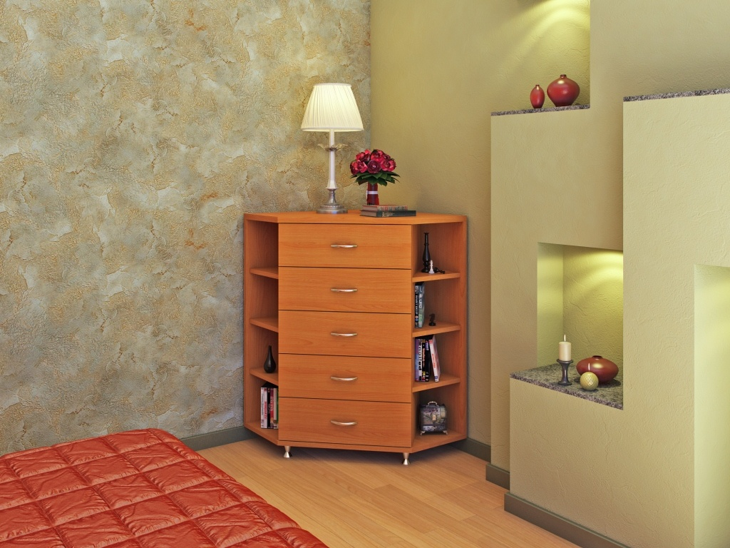 Wooden corner stand for lampa and storage in bedroom