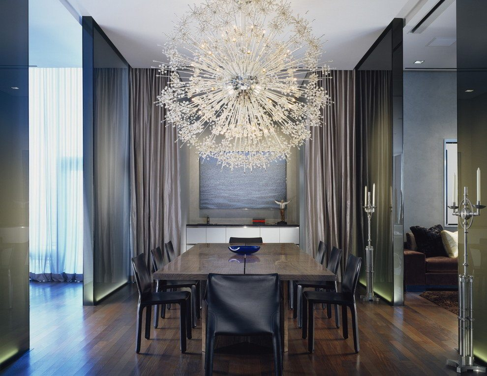 Modern Chandeliers: Huge Selection of Room Decorating Options. Starburst pendant lamp over the dining table