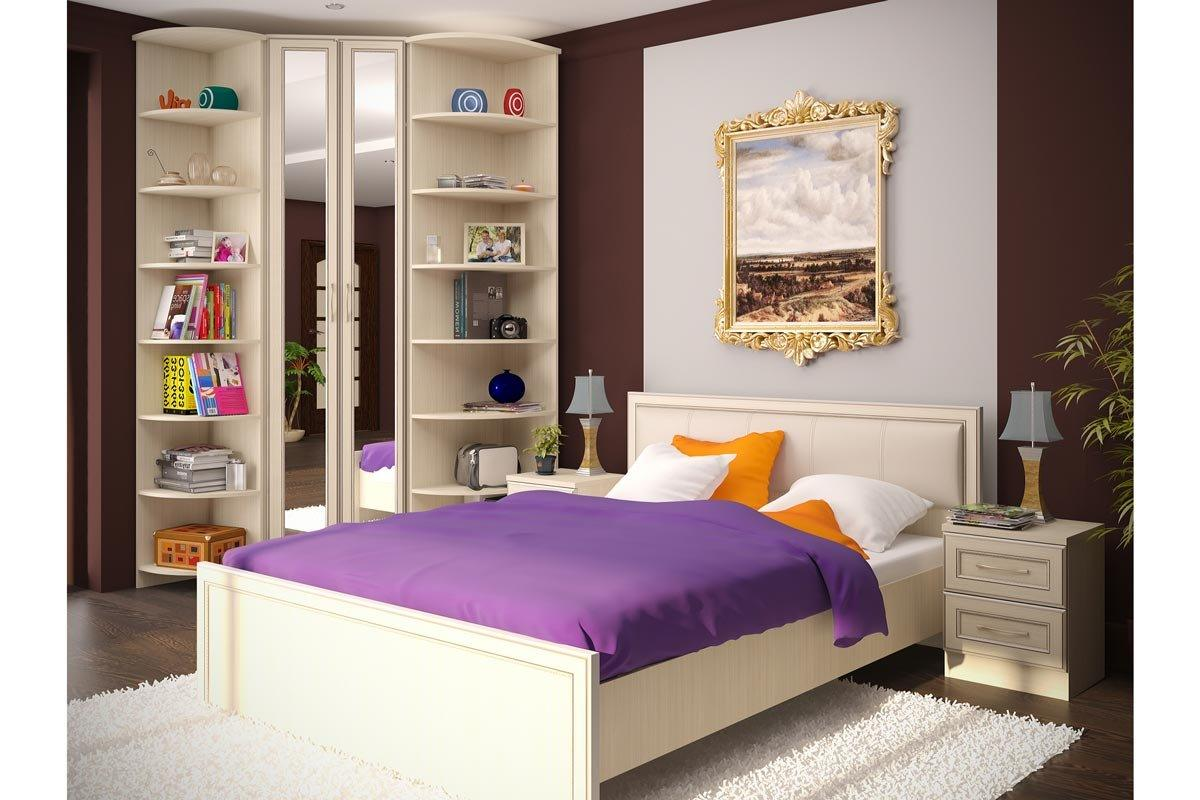 Open shelves fo the cabinet and purple coverlet revive the interior of the bedroom