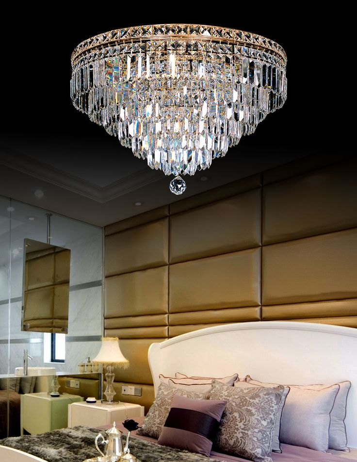 Solid pyramid formed crystal chandelier for great chic designed bedroom