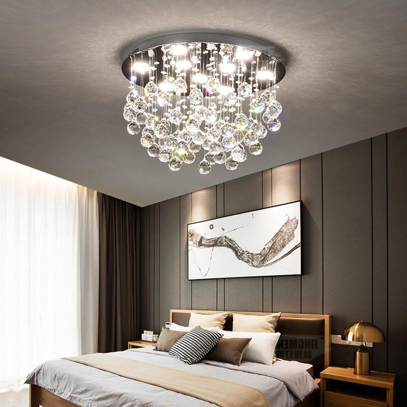 Falling down crystal chandelier gray bedroom