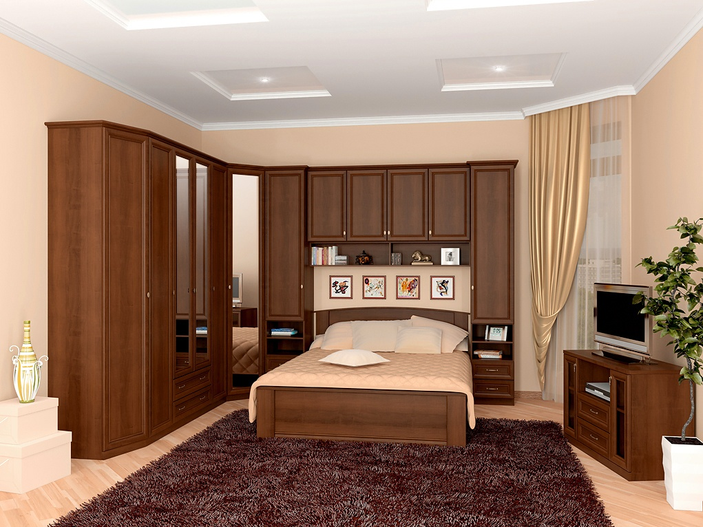 Corner Bedroom Furniture: Arranging Cozy Interior, Dark wooden wardrobe with mirror for casual styled room