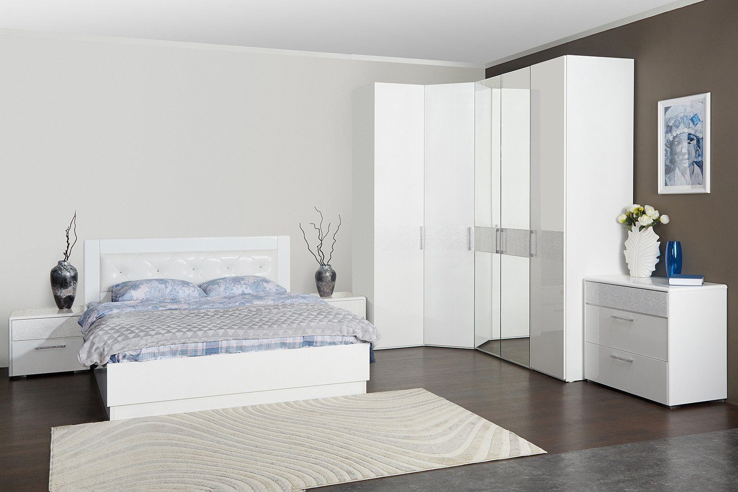 Modular corner bedroom furniture set in light tones