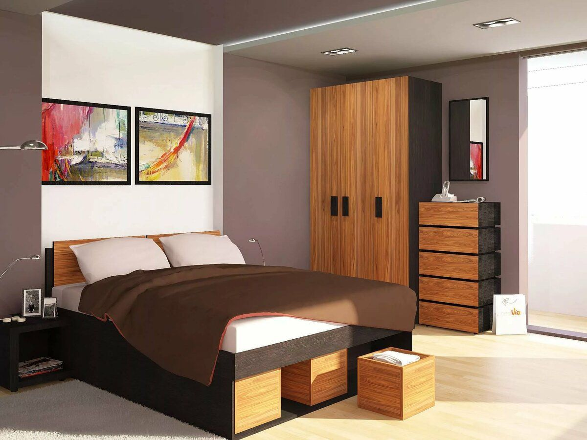 Casual designed bedroom with zoned ceiling and combined color scheme