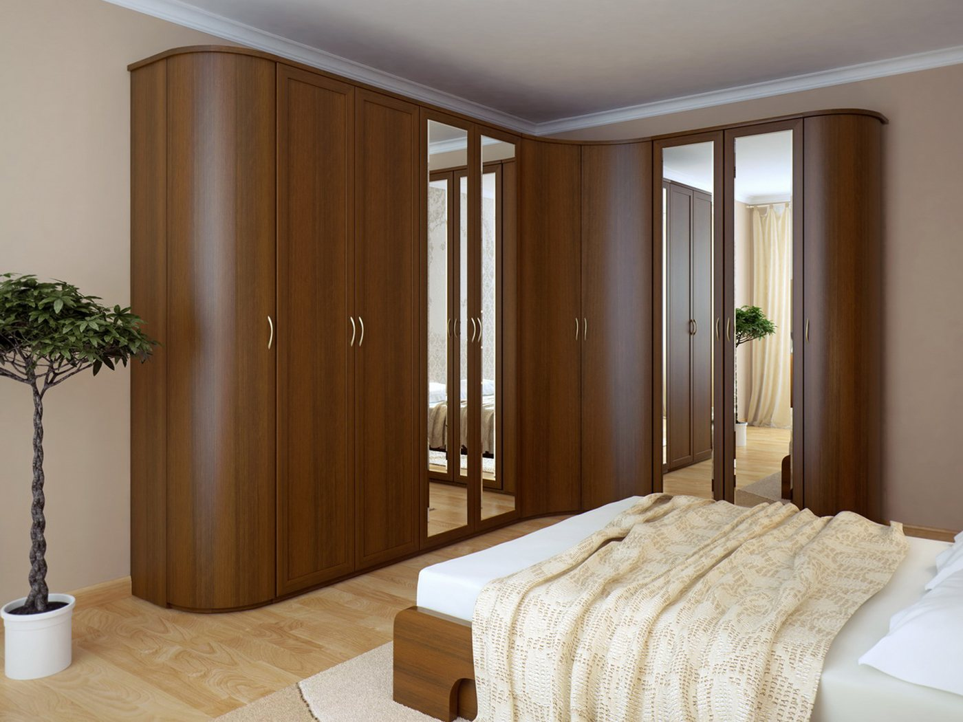 Smooth lines of the wooden l-shaped furniture set with mirrors for bedroom