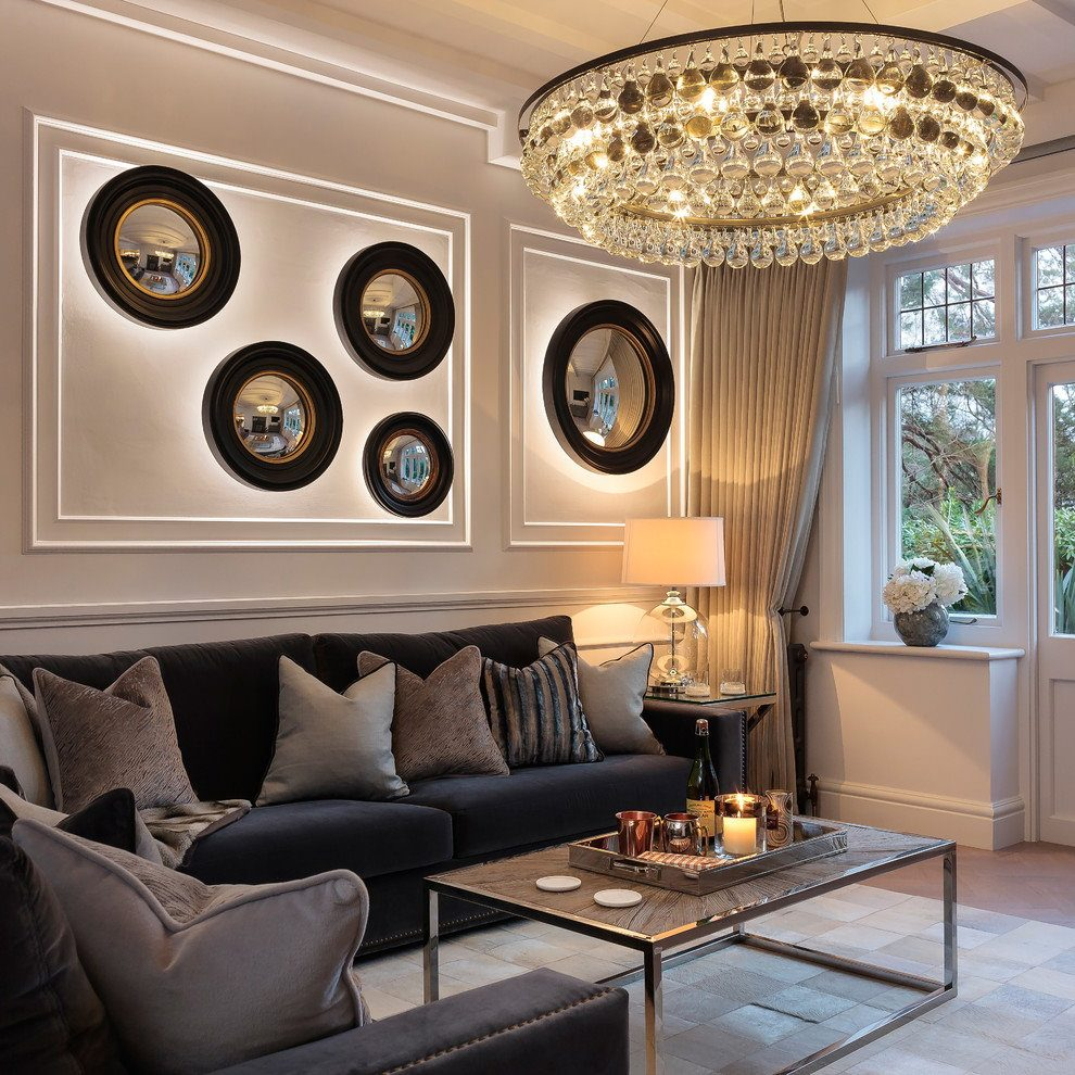 Modern Chandeliers: Huge Selection of Room Decorating Options. Round ceiling crystal lamp