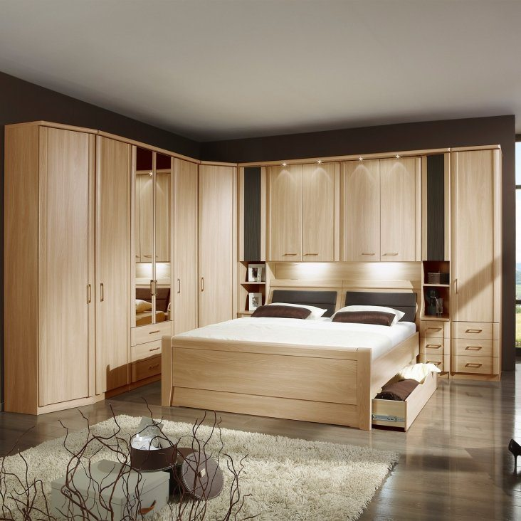 Modern bleached oak colored furniture for bedroom
