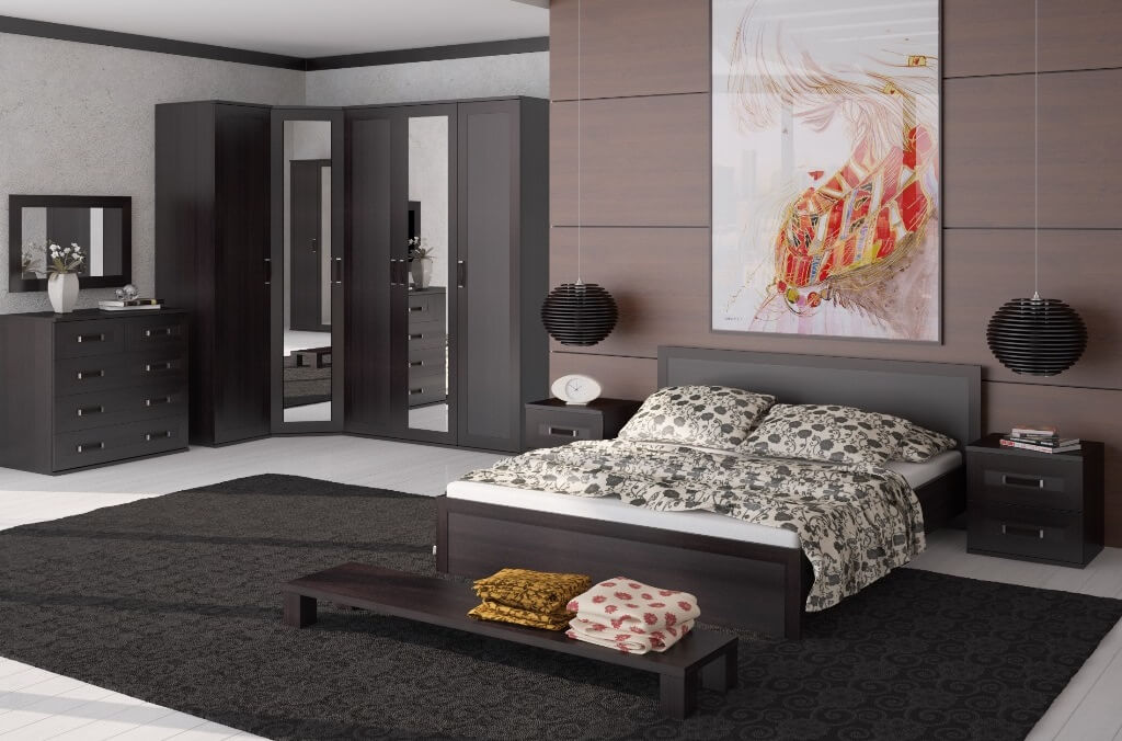 Corner Bedroom Furniture: Arranging Cozy Interior in Dark colors and masculine casual style