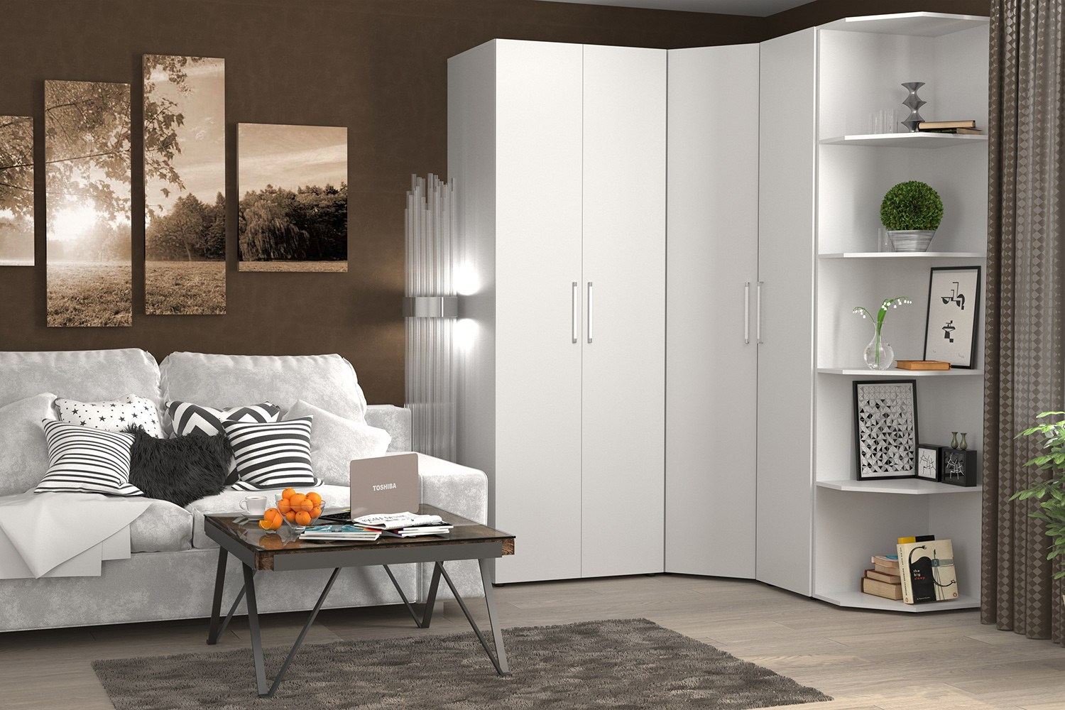 Corner Bedroom Furniture: Arranging Cozy Interior. Great looking white wardrobe for small space