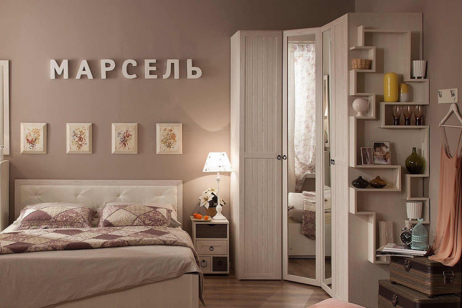 Corner furniture and picture decoration for small bedroom