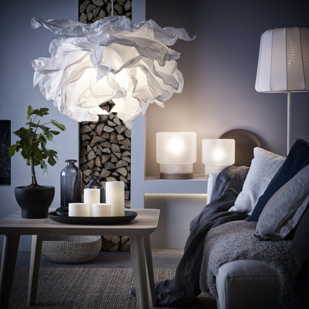 Modern Chandeliers: Huge Selection of Room Decorating Options. Very unusual as if crumpled paper form of the lamp shade