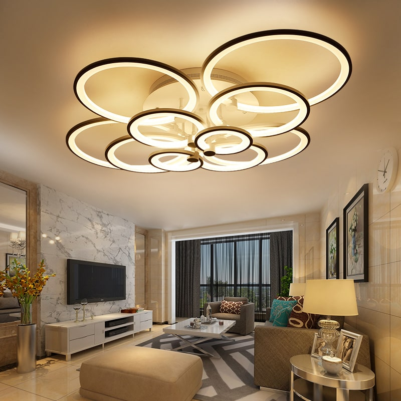 Modern LED chandelier with remote control for exclusive atmosphere of the living