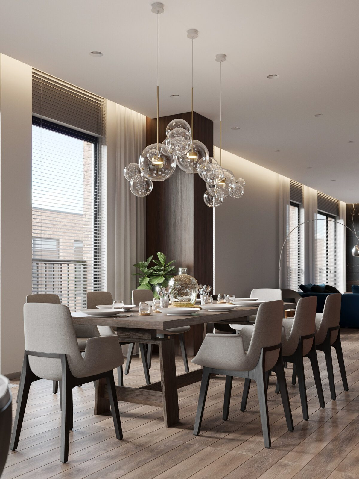 Glass bulbs chandelier over the large dinign table