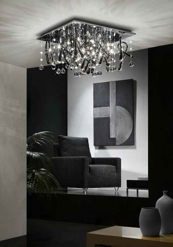 Unusual complex metal and crystal low pendant lamp for relaxing zone