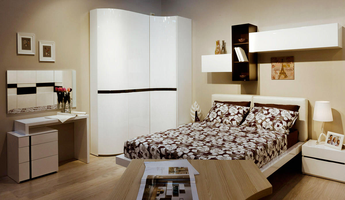 White glossy corner cabinet for modern bedroom