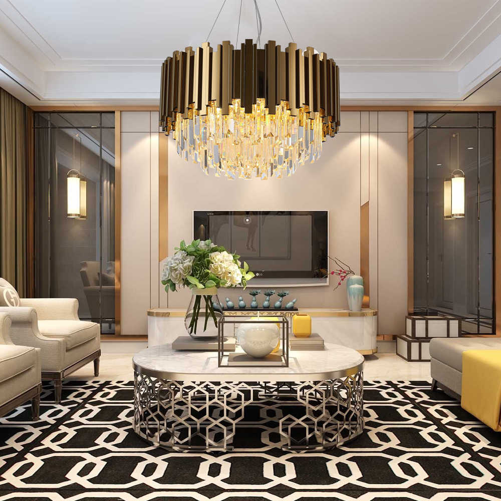 Modern Chandeliers: Huge Selection of Room Decorating Options. Complex designed lamp with gilded slats