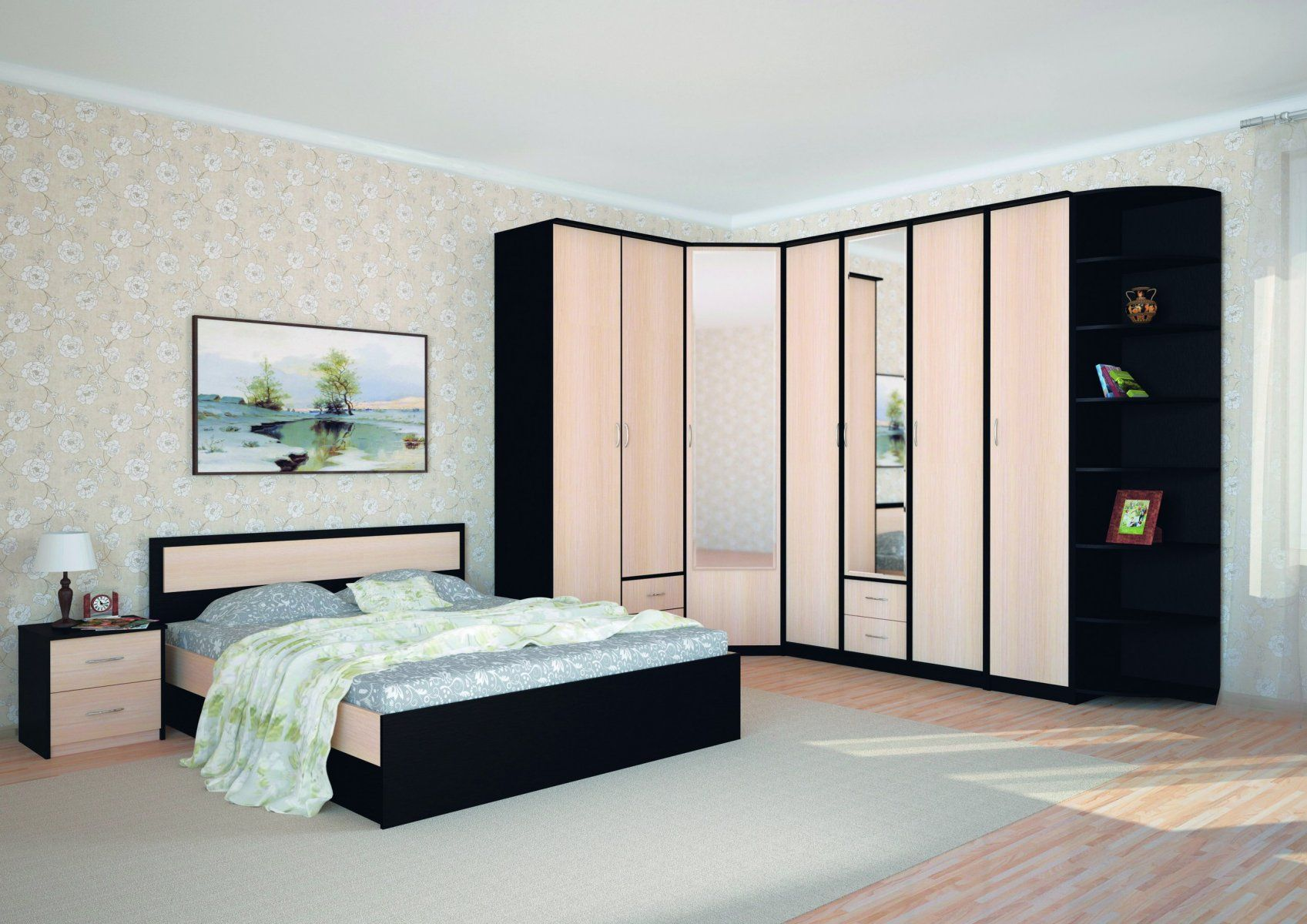 Black and wooden angular cabinet with mirrors and low platform bed with black sides for casual bedroom