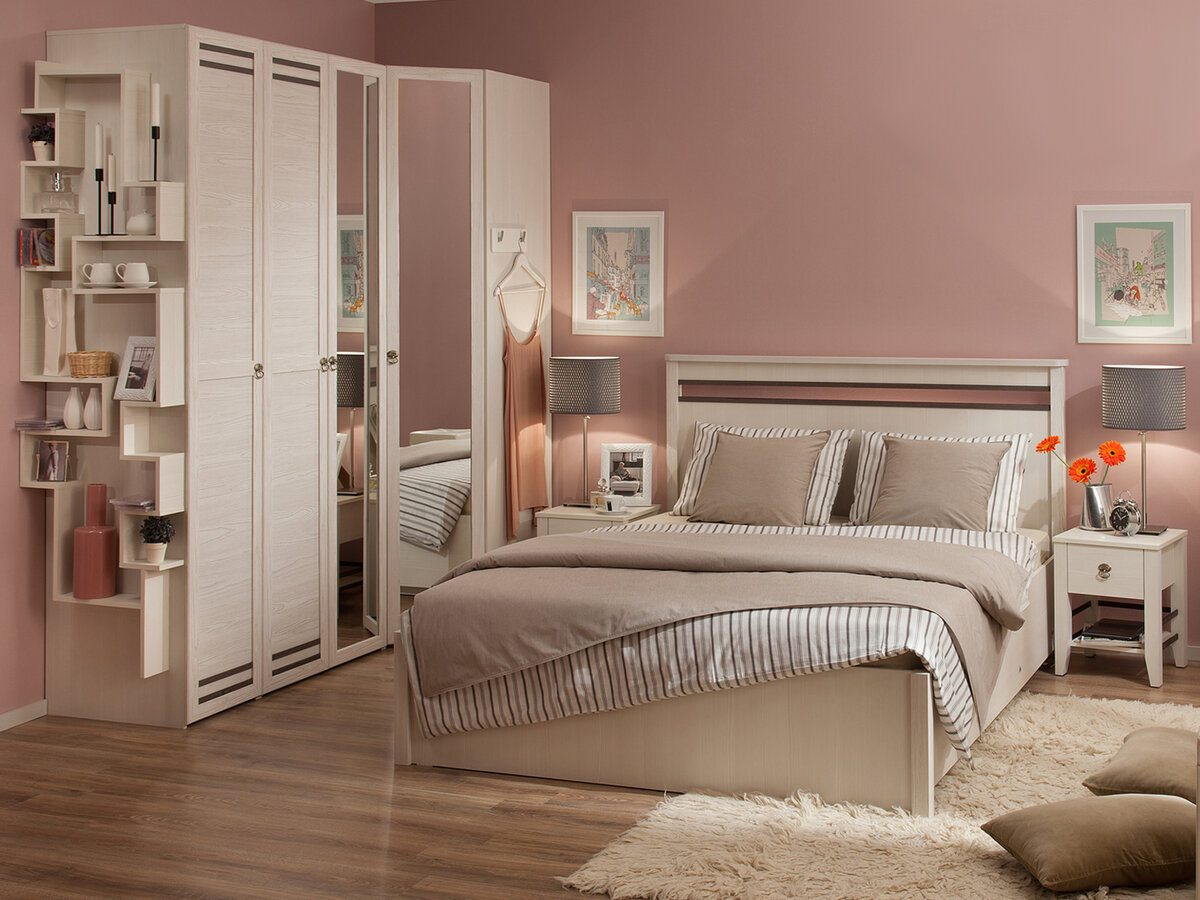 Pale pink powder painted walls in the bedroom