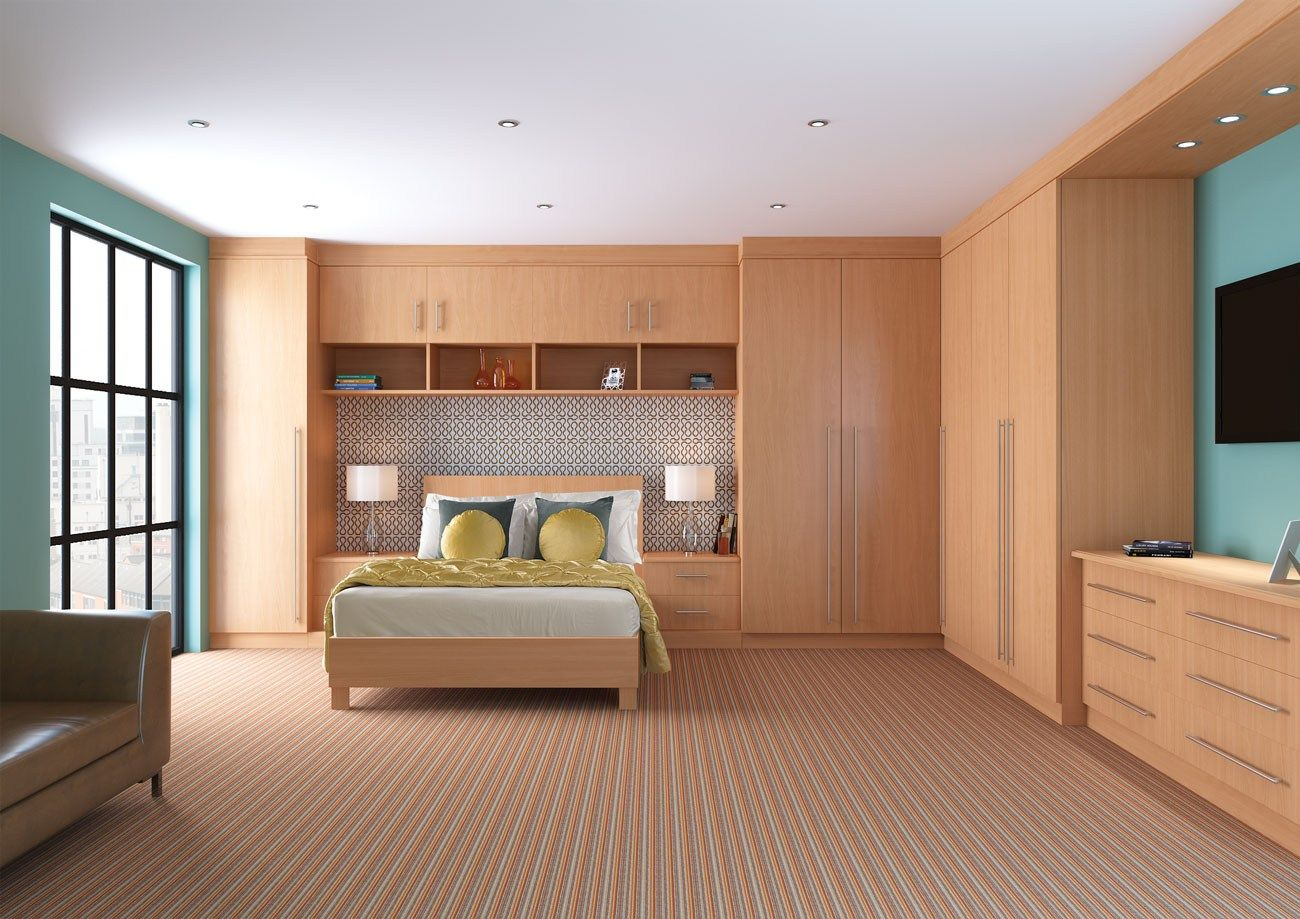 Nice light wooden designed bedroom with comfortable sleeping zone and night lamps