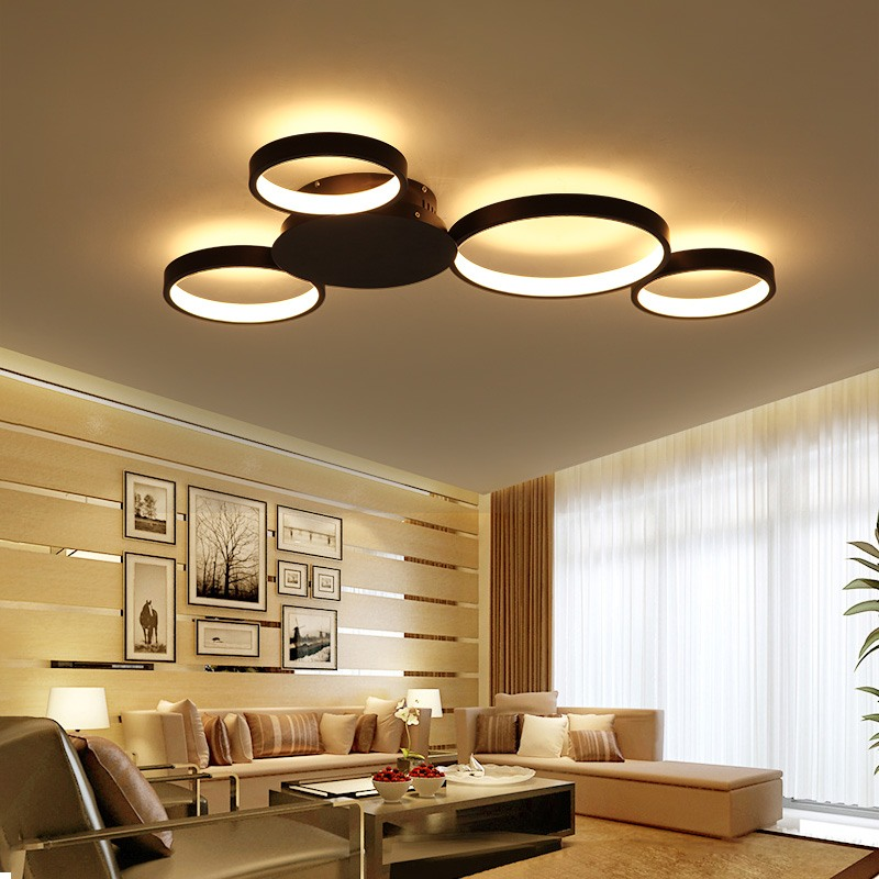 Black LED chandelier for casual styled living