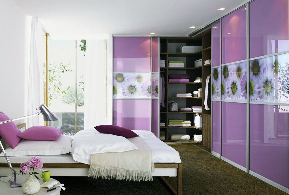 Purple film printed facades for the bedroom cabinet