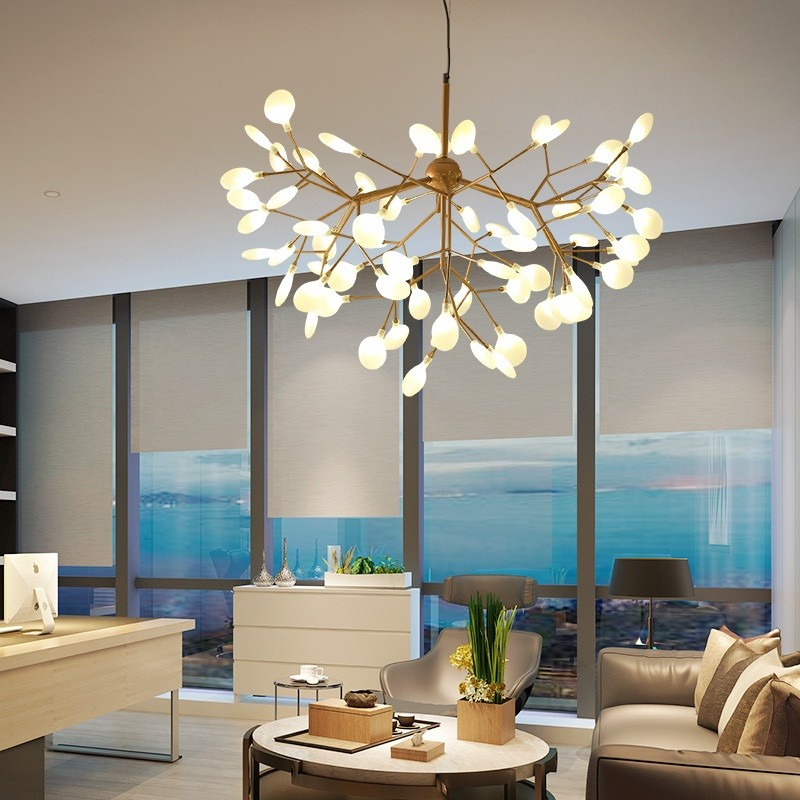 Modern Chandeliers: Huge Selection of Room Decorating Options. Modern apartment in minimalism with panoramic window and tree-looking chandelier