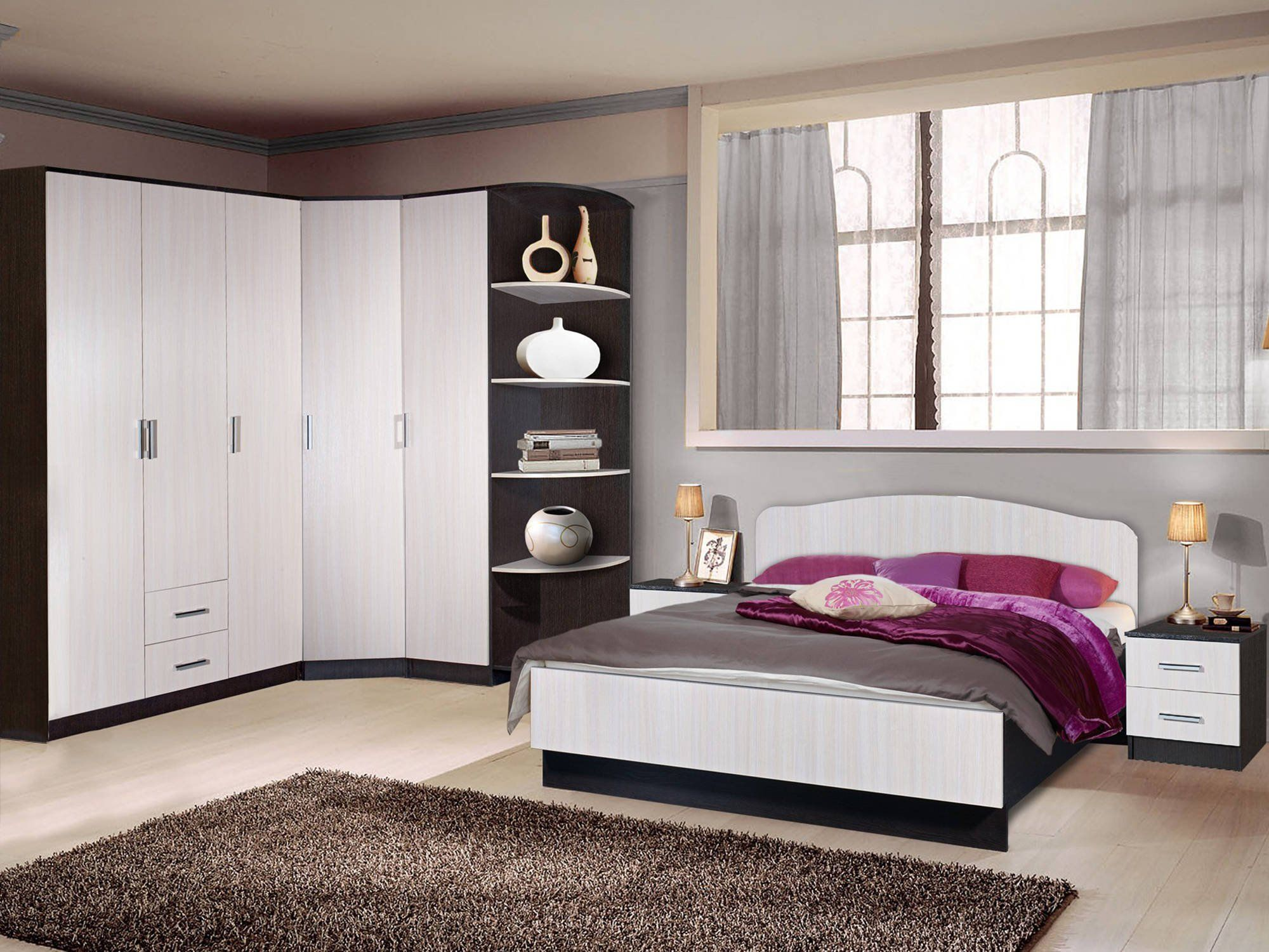 Casual L-shaped furniture design in contemporary bedroom