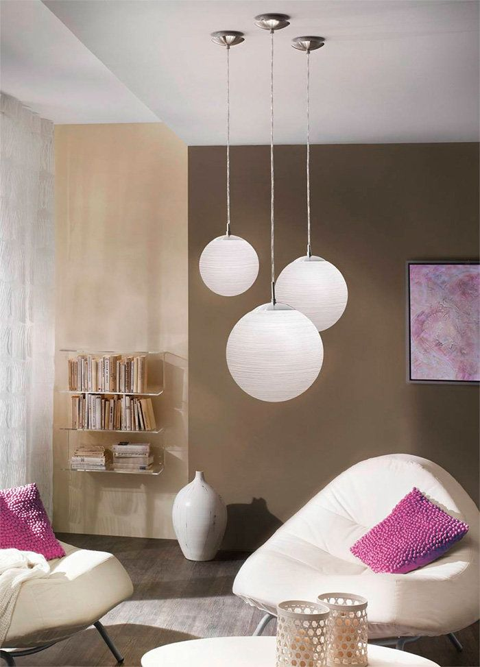Pendant spherical lamps with matte glass shades for small living