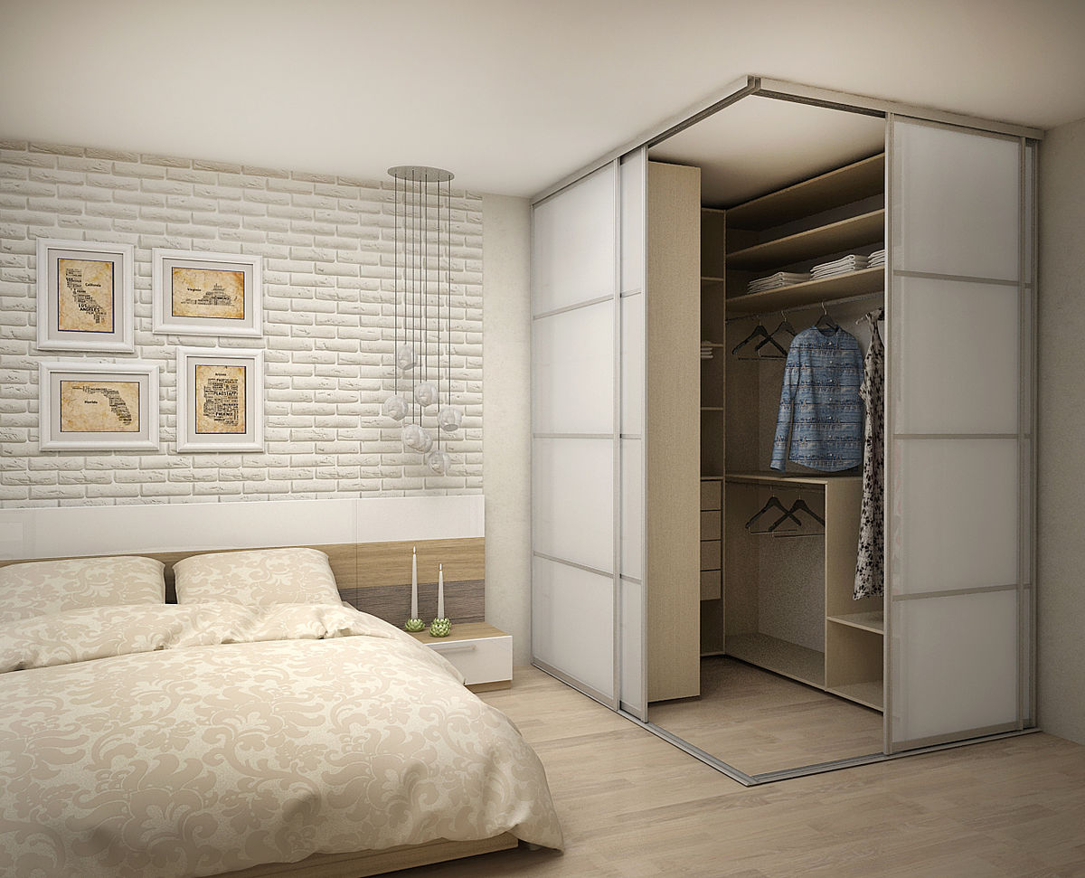 Improvised wardrobe with ceiling fastened frame and aluminum guides