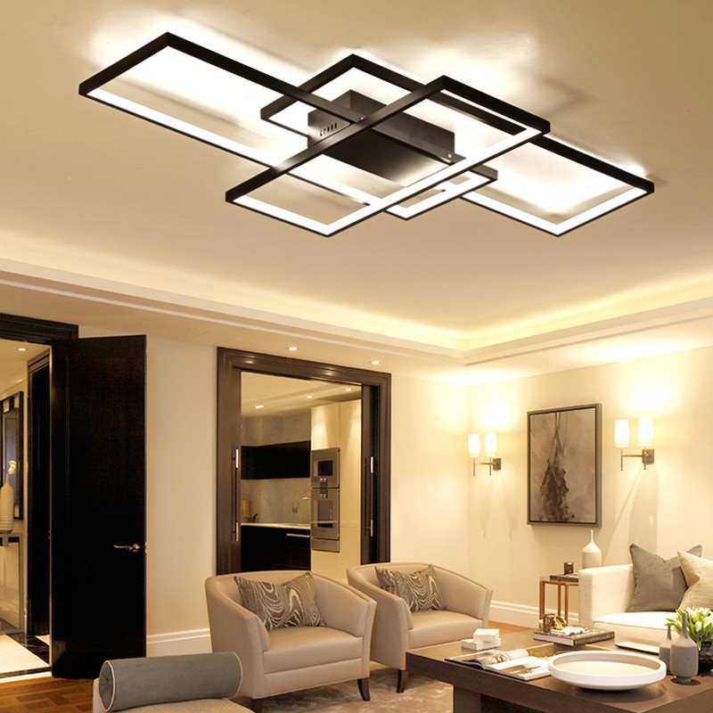 Linear design of led chandelier with lighting side surfaces and black construction