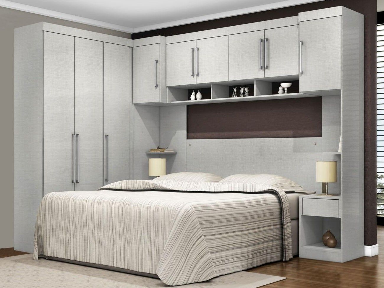 Modern designed bedroom with nicely organized storage systems