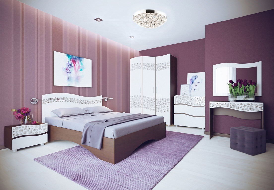 Purple wallpaper and white furniture for the bedroom