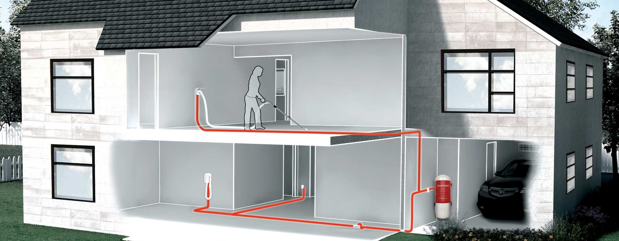 Central Vacuum Systems and How They Work. Scheme of possible coverage area for the system