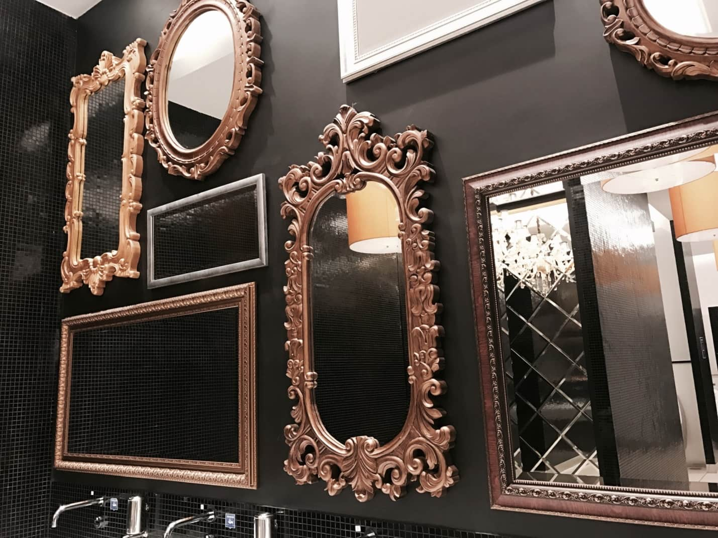 6 Beautiful Wall Mirrors to Consider for Your Home. Dark accent wall with hanging mirrors for exquisite decoration