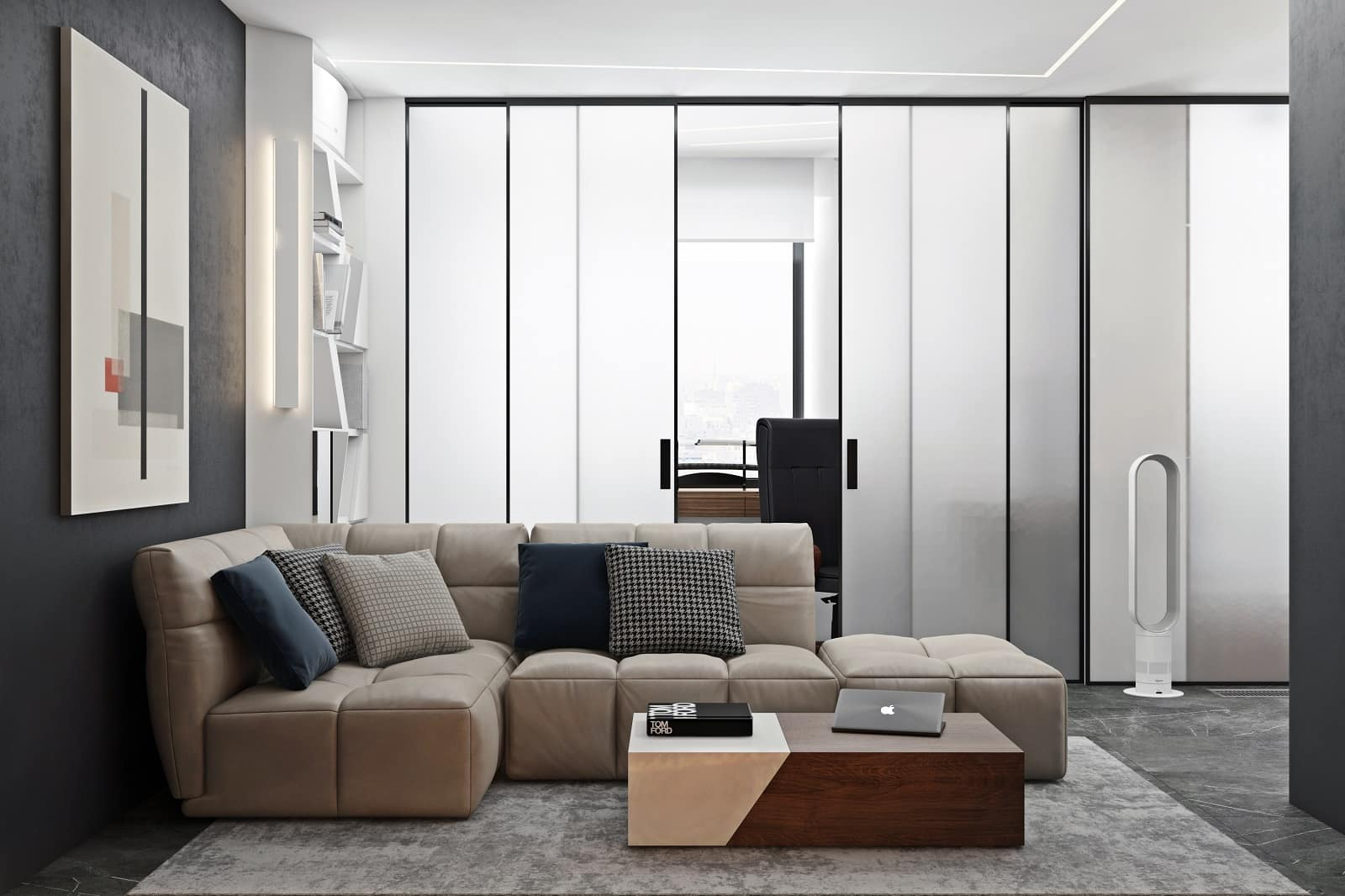 Great designed living room with the frosted glass panels to zone the areas
