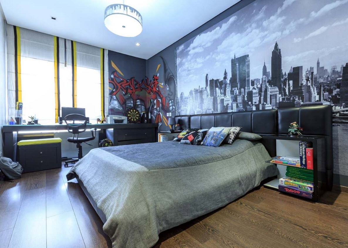 Teenager Room Decoration Tips for Stylish and Cozy Space. Great urban motif of the wallpaper