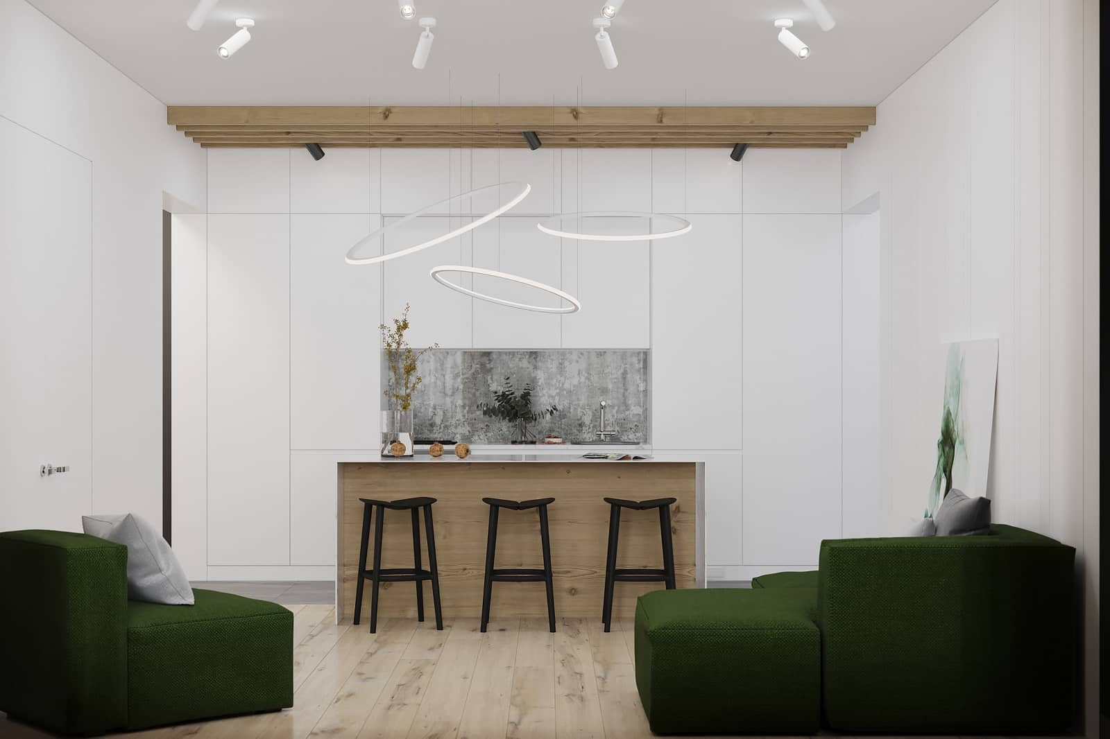 Designing Connected Homes: Make Your Smart House Functional & Appealing. Eco design in white colored spacious kitchen