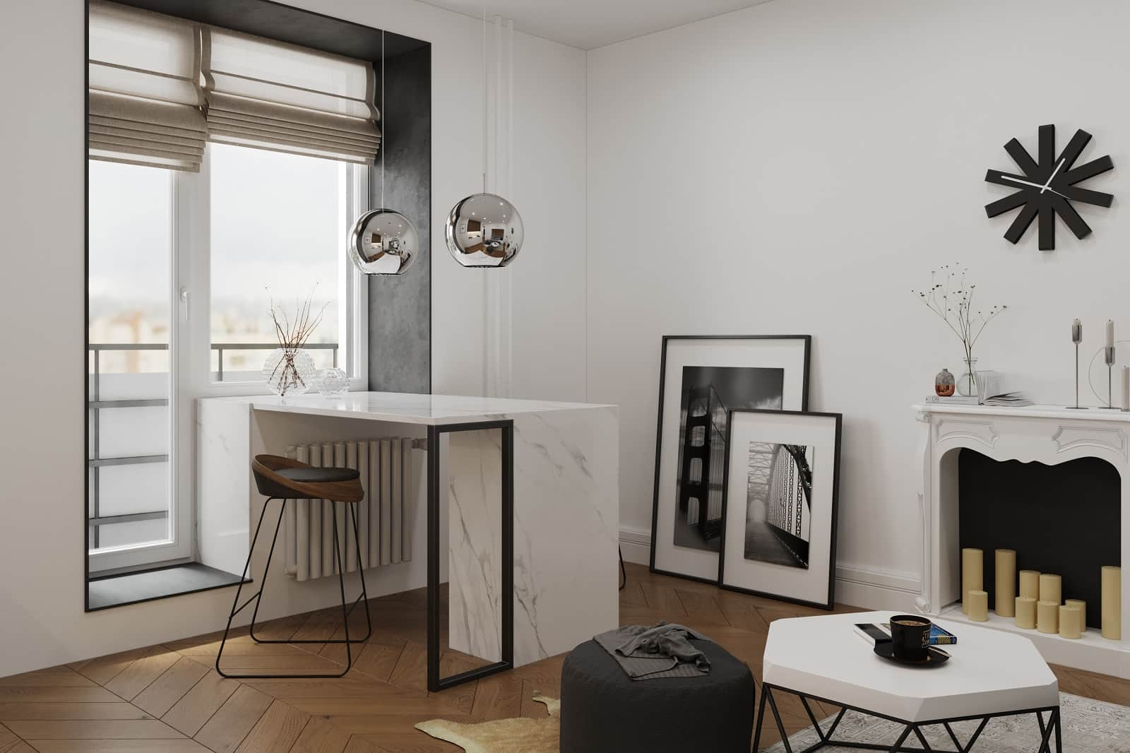 Nice home office with pictures and creative zone