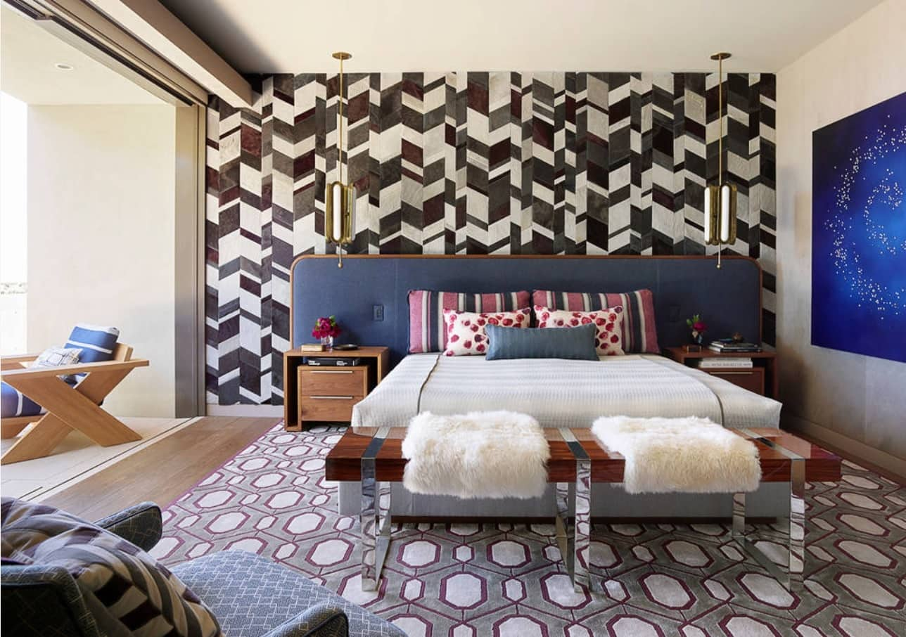 8 Tips For Keeping Your Interiors Picture Perfect. Patchwork art designed headboard wall for Fusion styled bedroom with spotted carpet