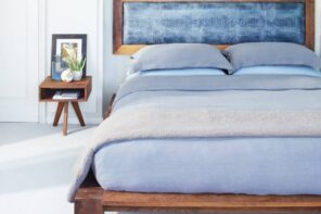 What To Look For If You Want To Buy Green. Natural mattress in blue for modern bedroom with scent of wooden elements