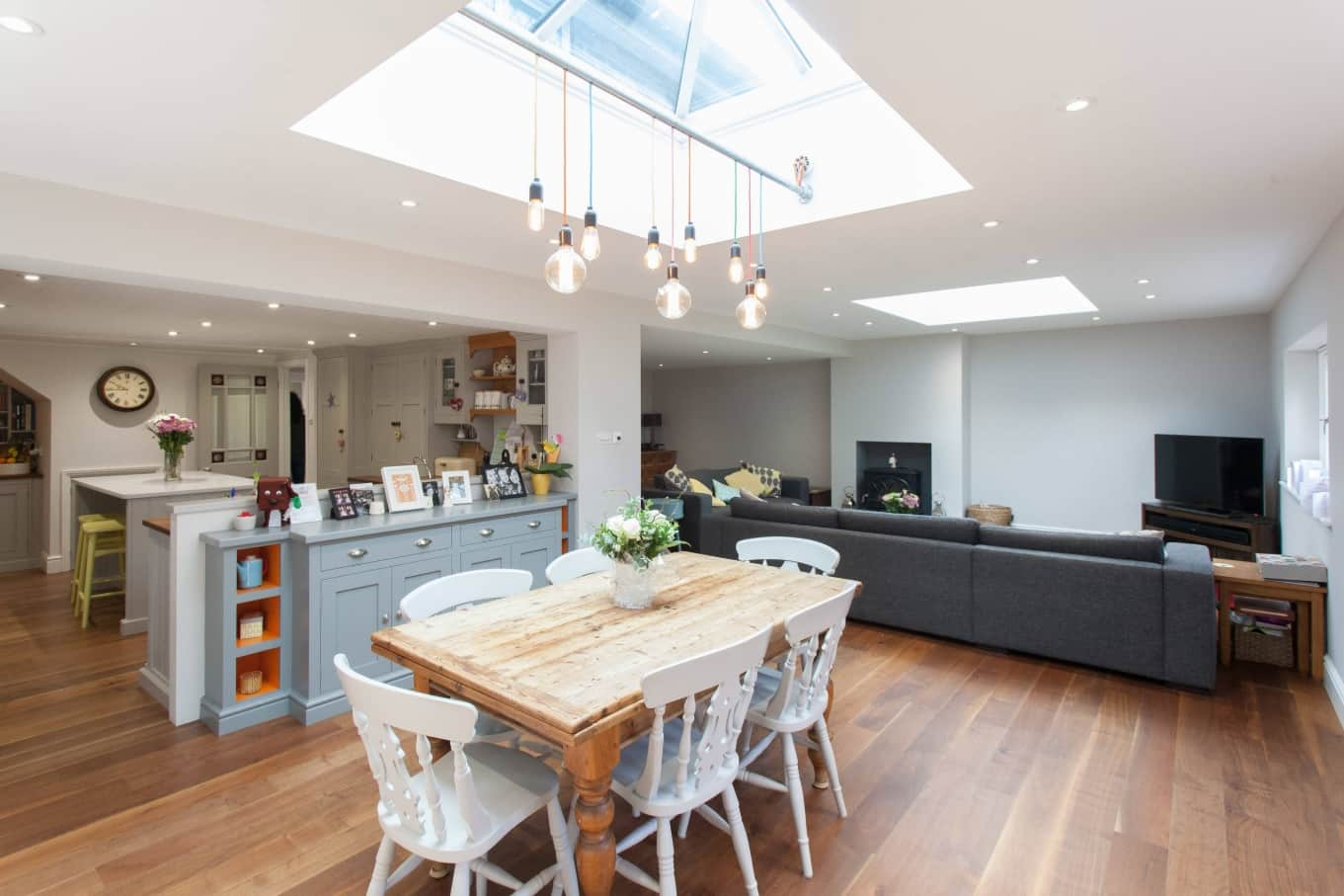 Achieving a Rustic Look in Your Urban Lifestyle. Unique kitchen design with square skylight and u-shaped arrangement